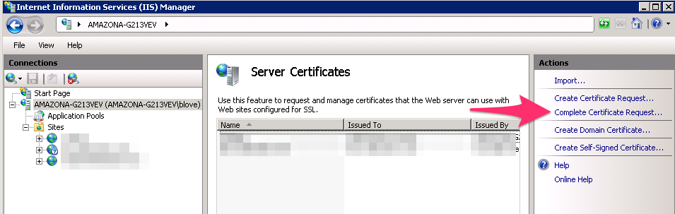 Complete Certificate Request