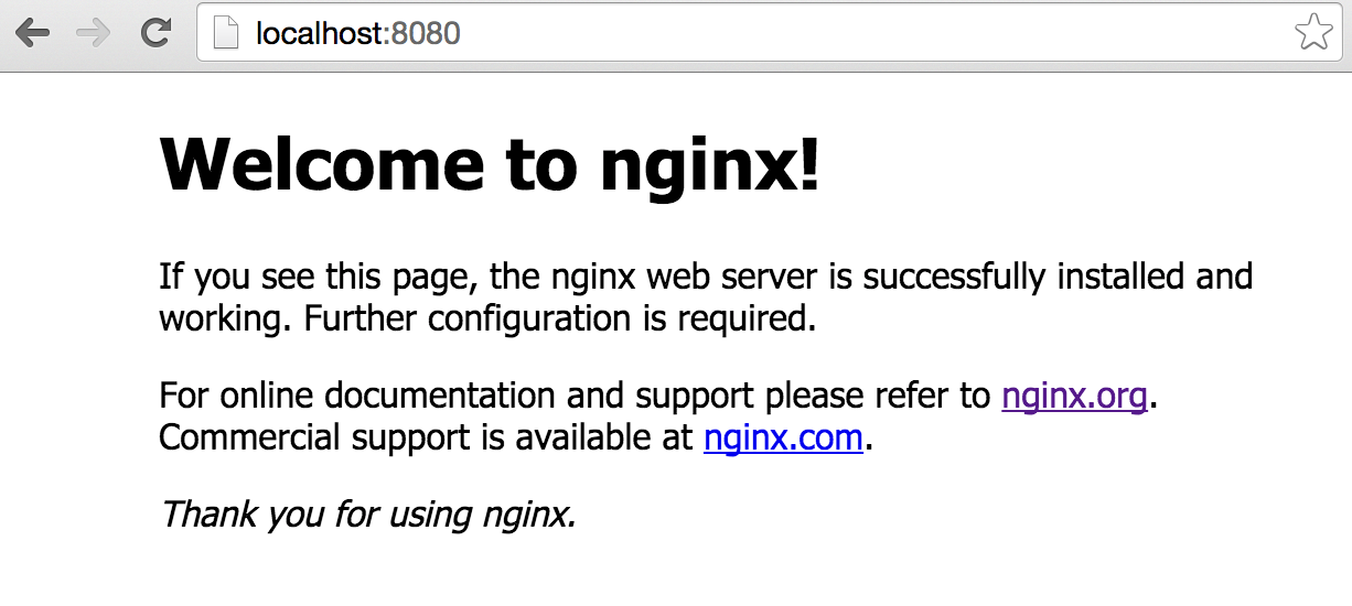 Screenshot showing Nginx welcome page