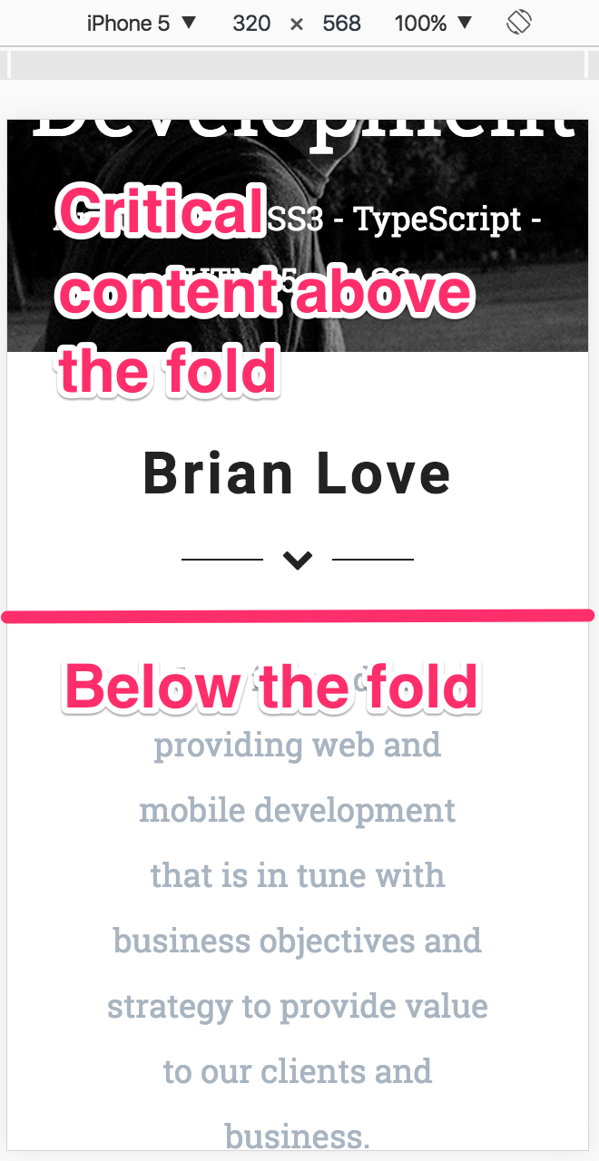 Image showing the fold of a webpage