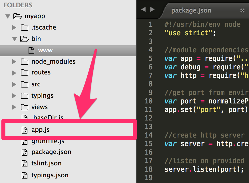 The app.js file is in the myapp directory, while the www file is in the ./bin directory
